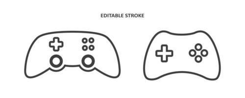 ícone de vetor de controlador de videogame joystick. jogar console ou joypad em estilo de contorno. gamepad para jogador de computador. curso editável