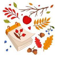 elementos de outono aconchegantes. calendário de folhas soltas. conjunto de elementos da floresta. vetor