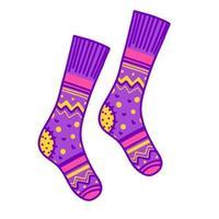 meias de malha roxas brilhantes. roupas para outono e inverno. conforto doméstico. vetor