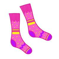 meias de malha rosa brilhante. roupas para outono e inverno. conforto doméstico. vetor