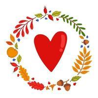 outono aconchegante. moldura feita de elementos de outono. coração dentro. vetor