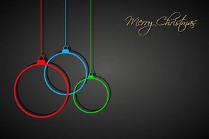 três bolas de Natal coloridas com cordas em fundo preto. cartão de felicitações de férias com sinal de feliz natal vetor