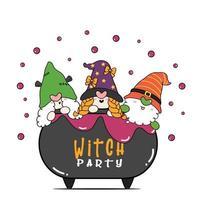 grupo de três feliz halloween bruxa gnomo festa em veneno brew pote caudron, desenho plano desenho contorno doodle vetor