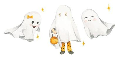 aquarela com fantasmas bonitos. trajes de Halloween. vetor