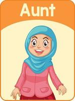 cartão educacional da tia com palavras em inglês vetor