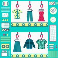 Fábrica de roupas coloridas e fofas com máquinas, esteira e pinça. design plano. vetor