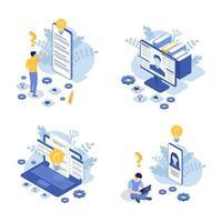 conjunto de conceito de suporte ao cliente com laptop, monitor de computador. vetor