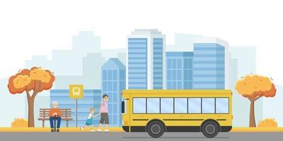 ilustração em vetor de uma cidade de outono. as pessoas estão esperando o ônibus no ponto de ônibus. um homem e um menino caminham de mãos dadas com o ônibus que se aproxima. infoestrutura urbana.
