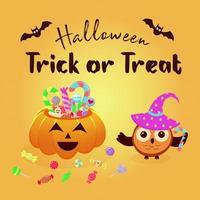 cesta de abóbora de halloween cheia de doces e guloseimas e coruja em um chapéu mágico. vetor