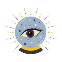 bola de cristal mágica com olho da providência. vetor