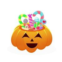 cesta de abóbora de halloween cheia de doces e guloseimas. vetor