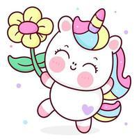Unicórnio fofo desenho animado kawaii vetor animal segurando flor chifre cavalo ilustração de conto de fadas