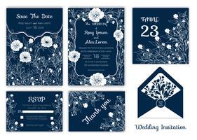 Convite de casamento, salvar a data, cartão de RSVP, cartão de agradecimento, número de mesa vetor