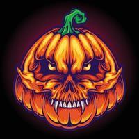 Halloween assustador caveira com ilustrações de jack o lantern faces vetor