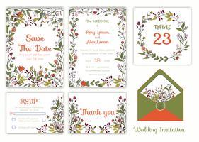 Convite de casamento, salvar a data, cartão de RSVP, cartão de agradecimento vetor