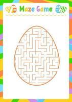 labirinto oval de cor. planilhas para crianças. página de atividades. jogo de quebra-cabeça para crianças. ovo, feriado, páscoa. enigma do labirinto. ilustração vetorial. com resposta. vetor