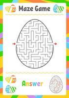 labirinto oval preto. planilhas para crianças. página de atividades. jogo de quebra-cabeça para crianças. ovo, feriado, páscoa. enigma do labirinto. ilustração vetorial. com resposta. vetor