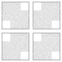 um conjunto de labirintos. jogo para crianças. quebra-cabeça para crianças. enigma do labirinto. ilustração vetorial plana. vetor