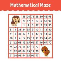 labirinto quadrado colorido matemático. planilha de desenvolvimento educacional. jogo para crianças. quebra-cabeça para crianças. o estudo dos números. enigma do labirinto. ilustração vetorial plana isolada no fundo branco vetor