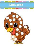 jogo de patch para crianças. faça uma página para colorir de pontos. planilha de atividades educacionais para crianças e bebês. ilustração isolada do vetor. estilo de desenho animado. vetor