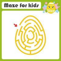 labirinto oval de cor. planilhas para crianças. página de atividades. jogo de quebra-cabeça para crianças. ovo fofo, Páscoa, feriado. enigma do labirinto. ilustração vetorial. vetor