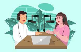 casal bate-papo com podcast vetor