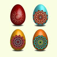 Coleção de ovos de Páscoa de mandala.