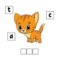 quebra-cabeça de palavras. planilha de desenvolvimento educacional. jogo para crianças. página de atividades. quebra-cabeça para crianças. enigma para a pré-escola. ilustração em vetor plana isolada simples no estilo bonito dos desenhos animados.