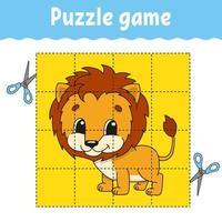 jogo de puzzle para educação infantil. planilha de desenvolvimento educacional. jogo para crianças. página de atividades. quebra-cabeça para crianças. enigma para a pré-escola. ilustração em vetor plana isolada simples no estilo bonito dos desenhos animados.
