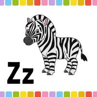 alfabeto animal. zoo abc. animais fofos dos desenhos animados isolados no fundo branco. para a educação de crianças. aprender letras. ilustração vetorial. vetor