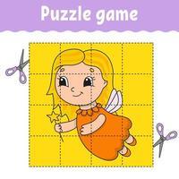 jogo de puzzle para crianças. planilha de desenvolvimento educacional. jogo de aprendizagem para crianças. página de atividades. para criança. enigma para a pré-escola. ilustração em vetor plana isolada simples no estilo bonito dos desenhos animados.