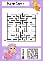Labirinto. jogo para crianças. labirinto engraçado. planilha de desenvolvimento de educação. página de atividades. quebra-cabeça para crianças. estilo bonito dos desenhos animados. enigma para a pré-escola. enigma lógico. ilustração do vetor de cor.