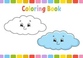 nuvem. livro de colorir para crianças. personagem alegre. ilustração vetorial. estilo bonito dos desenhos animados. desenhado à mão. página de fantasia para crianças. isolado no fundo branco. vetor