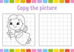 copie a imagem. colorir livro para crianças. planilha de desenvolvimento educacional. jogo para crianças. prática de caligrafia. ilustração em vetor bonito dos desenhos animados.