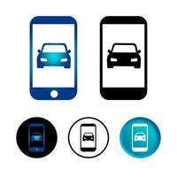 carro abstrato no conjunto de ícones do telefone móvel vetor