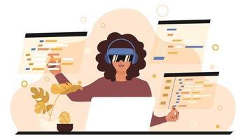 uma programadora está sentada a uma mesa usando óculos VR e escrevendo código de software. tecnologias futuras para freelancers. ilustração vetorial plana vetor