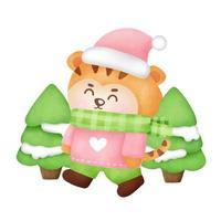 cartão de Natal e ano novo com tigre fofo em estilo aquarela. vetor