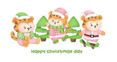 cartão de Natal e ano novo com tigres bonitos. vetor