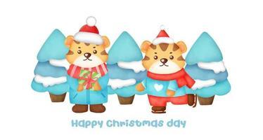 banner de Natal e ano novo com tigres bonitos. vetor