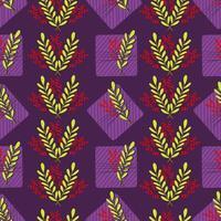 padrão sem emenda com caixas de presente listrado violeta e folhas vermelhas e verdes. impressão de férias bonito. ilustração vetorial desenhada à mão vetor