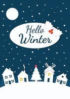 papel cortado Olá cartão de inverno com vila noturna vetor
