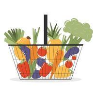 cesta de compras com frutas e vegetais frescos. vetor