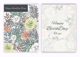 Quadro floral mão desenhada para um convite de dia de nascimento vetor