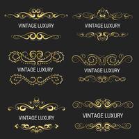 Moldura decorativa de ouro. Modelos vintage vetor