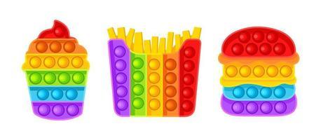 brinquedo anti-stress. hambúrguer, batata frita, sorvete. ilustração vetorial isolada no fundo branco. vetor