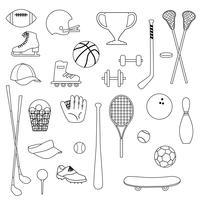 selos digitais pretos do equipamento de esportes do esboço vetor