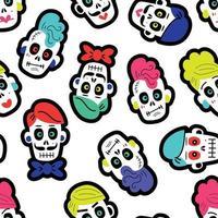 padrão sem emenda com várias calaveras mexicanas tradicionais multicoloridas ou caveiras de açúcar para o dia dos mortos vetor