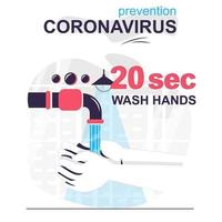 prevenção coronavirus conceito isolado dos desenhos animados. lave as mãos com sabonete por 20 segundos, cena de pessoas em design plano. ilustração vetorial para blog, site, aplicativo móvel, site móvel. vetor