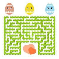 labirinto abstrato da cor. planilhas para crianças. página de atividades. jogo de quebra-cabeça para crianças. desenho de ovo fofo, o caminho para o coração, feriado, Páscoa, jardim. enigma do labirinto. ilustração vetorial. vetor