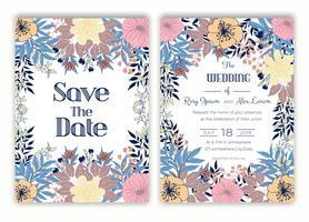 Quadro floral mão desenhada para um convite de casamento vetor